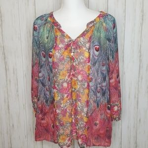 Anthro Peacock Floral Sheer Blouse